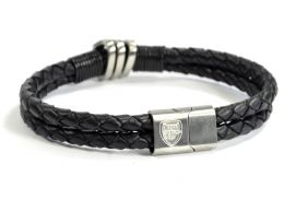 Arsenal Leather Double Plait Stainless Steel Boxed Bracelet