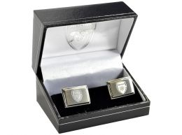 Arsenal Stainless Steel Engraved Oblong Crest Boxed Cufflinks