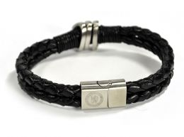 Chelsea Leather Double Plait Stainless Steel Boxed Bracelet