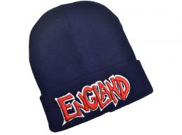 England Bronx Knitted Turn Up Hat Navy