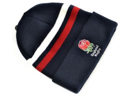 England Rugby Striped RFU Core Turn Up Hat Navy White Red