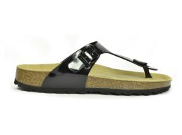 Sanosan Geneve Lacquered Black Womens Designer Thong Sandals