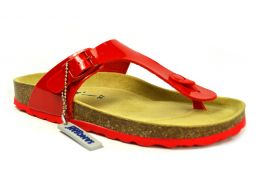 Sanosan Geneve Lacquered Red Womens Designer Thong Sandals