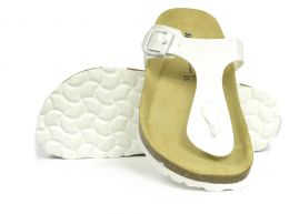 Sanosan Geneve Lacquered White Womens Designer Thong Sandals