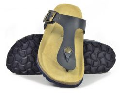 Sanosan Geneve Leather Black Womens Designer Thong Sandals