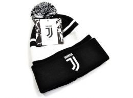 Juventus Bronx Turn Up Bobble Ski Hat Black White