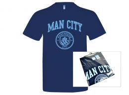Man City Crest T Shirt Navy Adults Retail Packaging