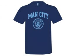 Man City Crest T Shirt Navy Adults
