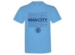 Man City Logo T Shirt Sky Blue Adults
