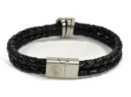 Man City Leather Double Plait Stainless Steel Boxed Bracelet