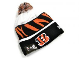 New Era Bengals Striped Knitted Bobble Hat Black White Orange
