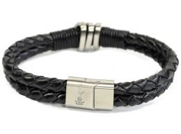 Spurs Leather Double Plait Stainless Steel Boxed Bracelet
