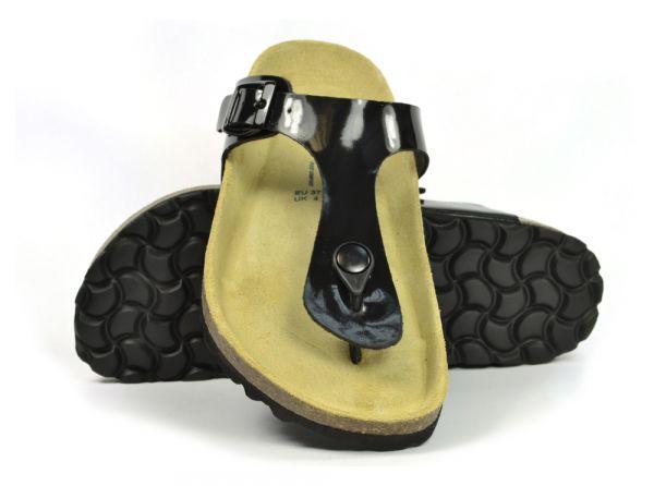 172a6056e97c1e Sanosan Geneve Lacquered Black Womens Designer Thong Sandals
