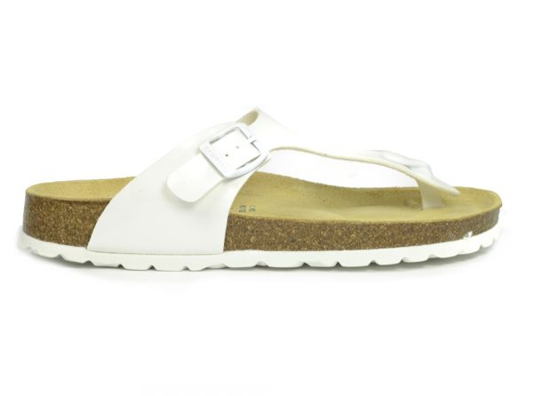 ad7e3fe69c085d Sanosan Geneve Lacquered White Womens Designer Thong Sandals